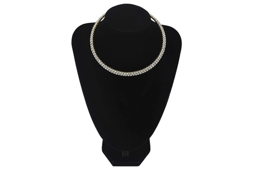 Double Row Small Diamante 2 Line Choker For Wedding Party Prom Bridesmaids Jewellery - Jasmaira