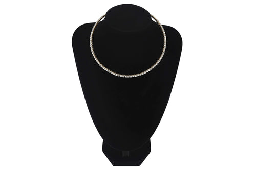 Small Diamante 1 Single Row/Line Choker Wedding Party Bridesmaids Prom Jewellery - Jasmaira