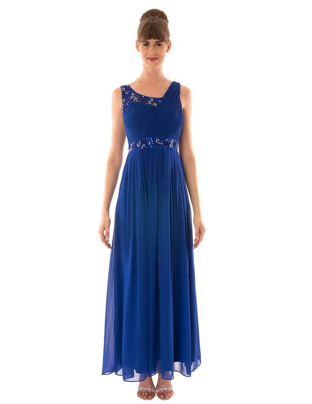 Long Dress With Diamante On Half Shoulder - Jasmaira