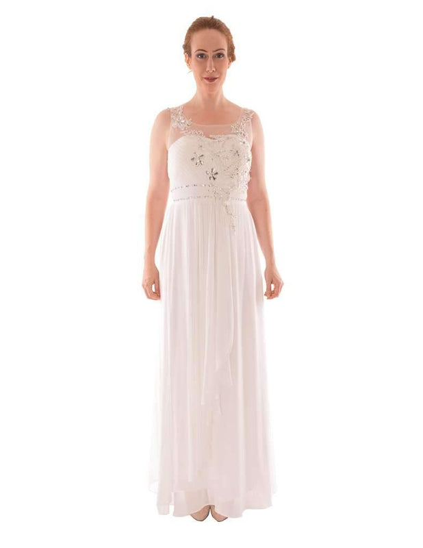 Long Evening Dress With Diamante and Mesh Top - Jasmaira