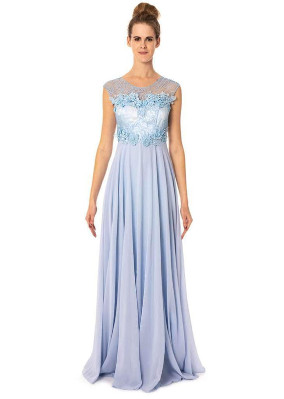 Long Floral Dress With See-Through/Mesh Neck Line And Back Prom Bridesmaids - Jasmaira