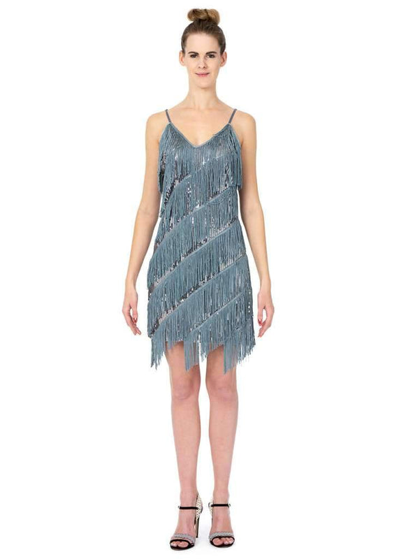 Short Dress With Sequince And Tassels - Jasmaira