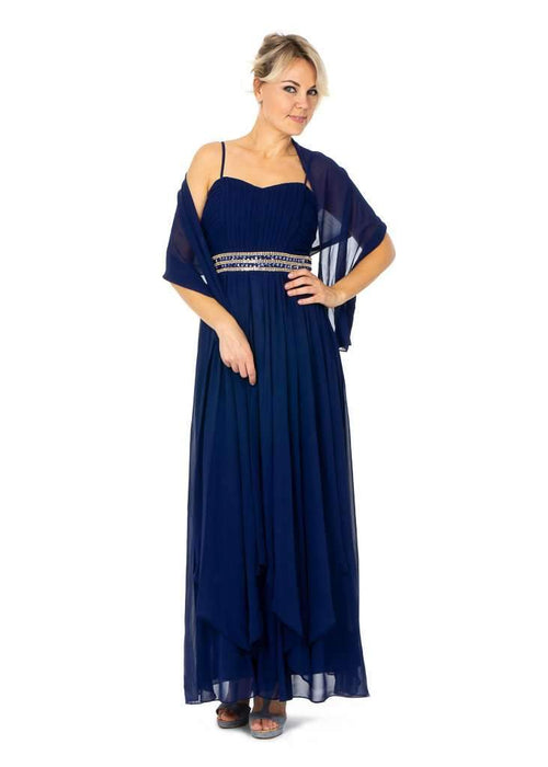 Long Prom Dresses With Layered Front - Jasmaira