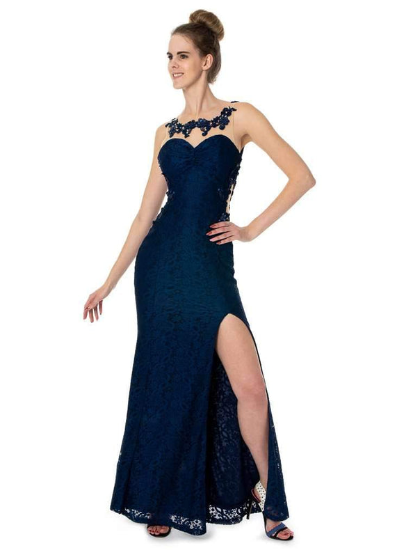 Long Deep Back Lace Dress Prom Party Evening - Jasmaira
