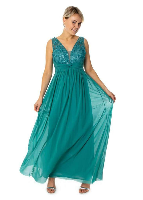 Long Dress With Pearls & Knot Prom Bridesmaids - Jasmaira