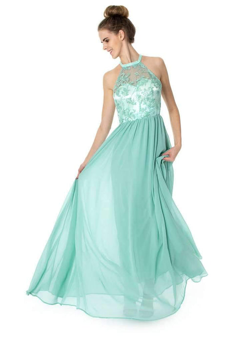 Long Halterneck Floral Dress Prom Bridesmaids - Jasmaira