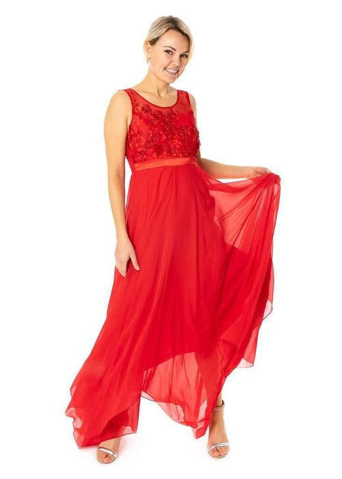 Long Floral Dress With Satin Band Bridesmaids Party Evening Dress - Jasmaira