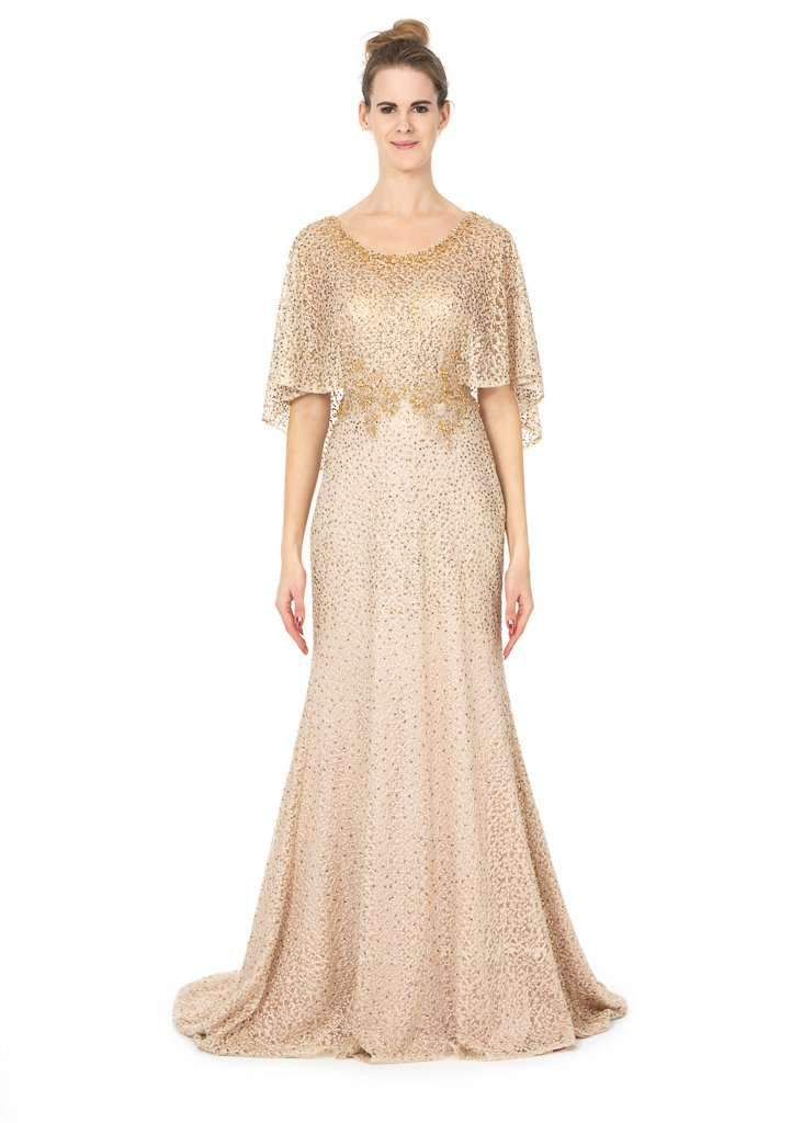 Long Bridesmaid Prom Party Dresses With Cape and Embellishment - Jasmaira