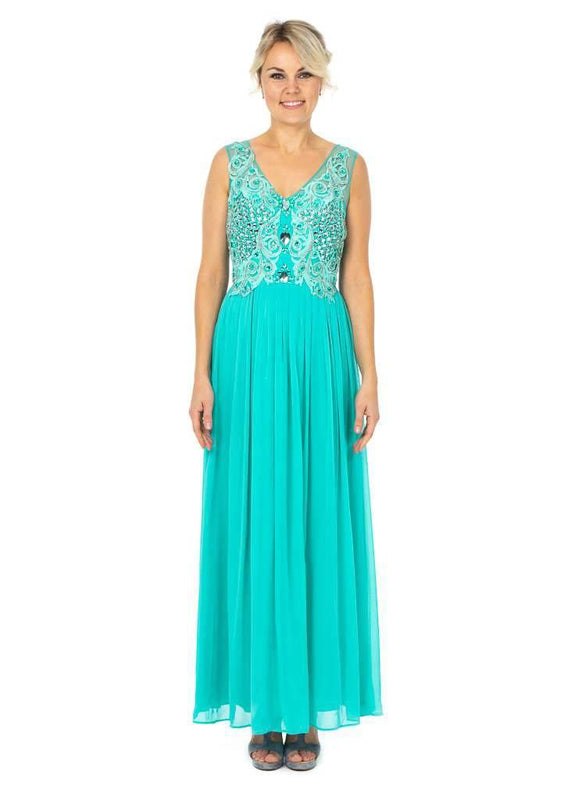 Long Party Dresses featuring V-neckline With Busy Top Embellishment - Jasmaira