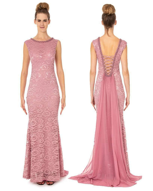 Long Lace Dress With Beautiful Shawl Back Prom Dress - Jasmaira