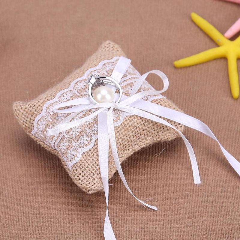 Lace Bow Ring Pillow for Wedding Ring Cushion Vintage Burlap Jute Cushion - Jasmaira