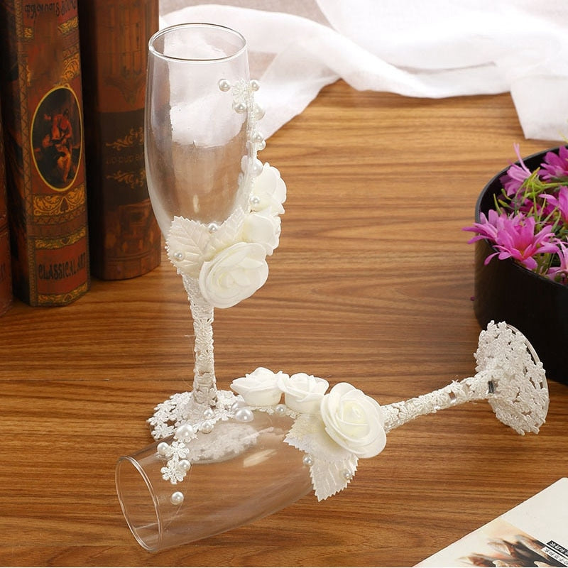 2Pcs/Set Wedding Glasses Champagne Flutes Toasting Glass - Jasmaira