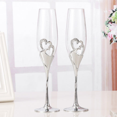 2 pcs / set Crystal Wedding Toasts Champagne Glasses - Jasmaira