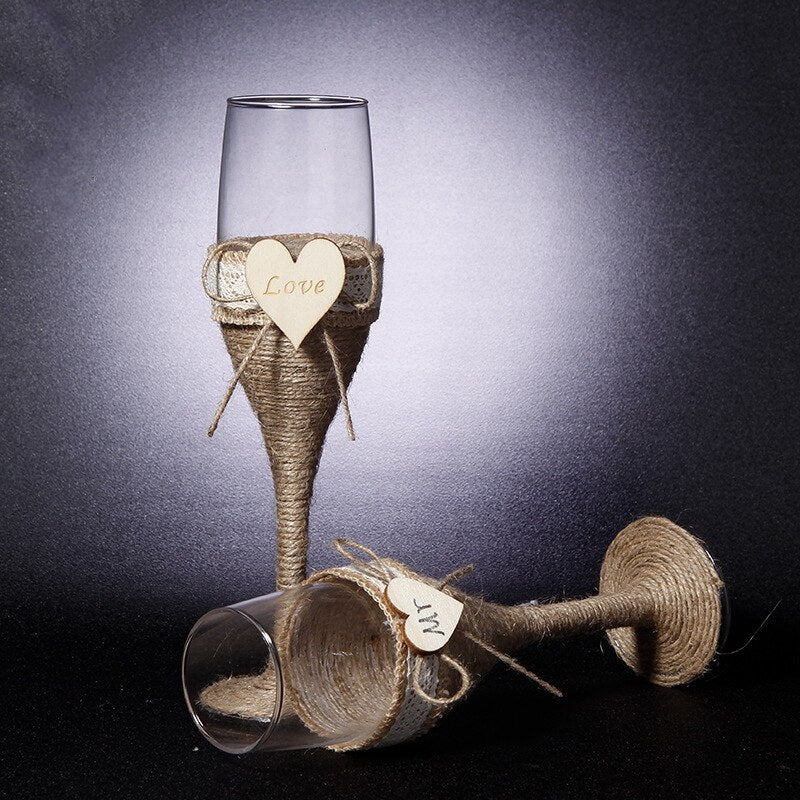 2Pcs Set Wedding Glasses Wedding Champagne Toasting Flutes Burlap Lace Rustic Flutes - Jasmaira