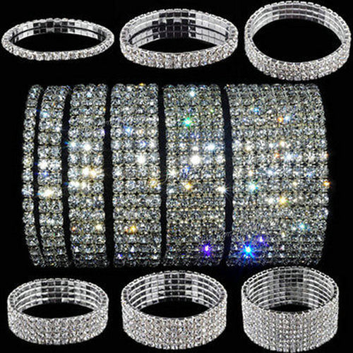 5 Styles Woman Bracelet Crystal Rhinestone Stretch Bracelet Bangle Wristband Elastic Wedding Bridal - Jasmaira