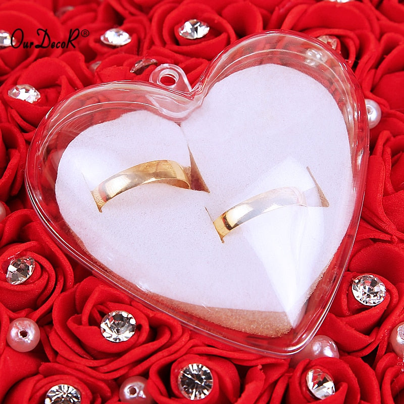 Ring Pillow With Transparent Box Heart Design with Rhinestone And Pearl Decor Wedding - Jasmaira