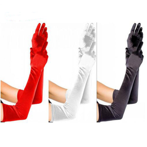Elbow Length Long Woman Wedding Gloves Finger Red/Black/White Bridal Wedding Gloves New Arrival Dance Gloves Satin - Jasmaira