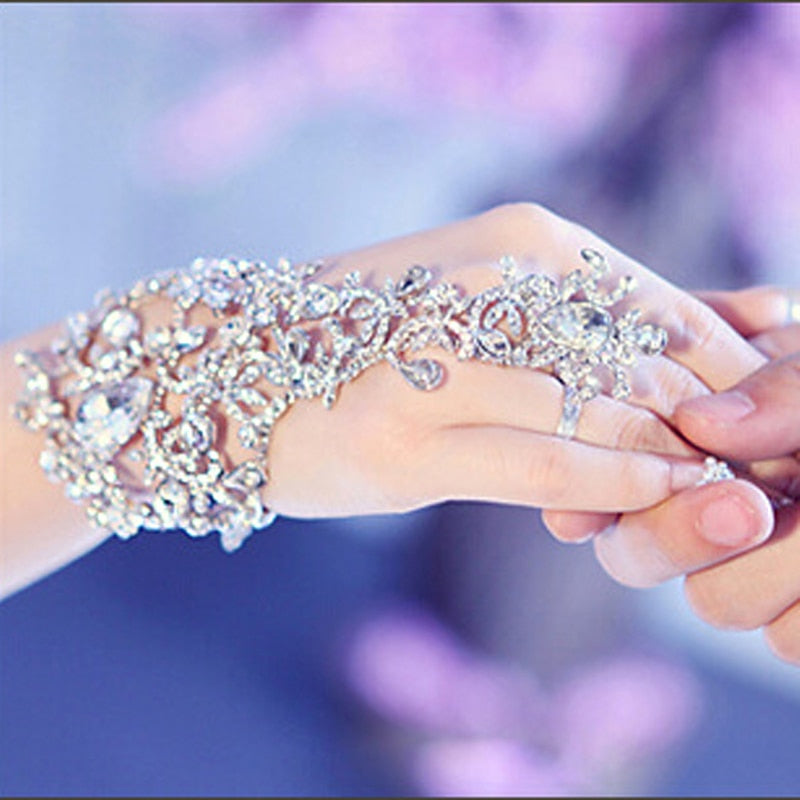 Luxury Elegant Crystal Rhinestones Bridal Gloves Bracelet Wedding Glove Bride Party Prom Jewelry Wristband Glove Hot Selling - Jasmaira