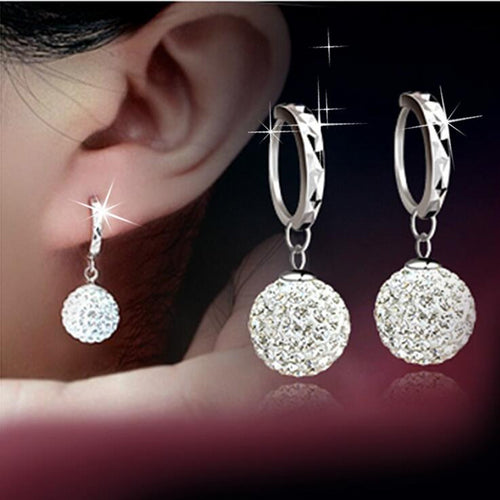 925 pure silver earring rhinestone ball ear earrings fashion Crystal earring Dangling wedding women - Jasmaira