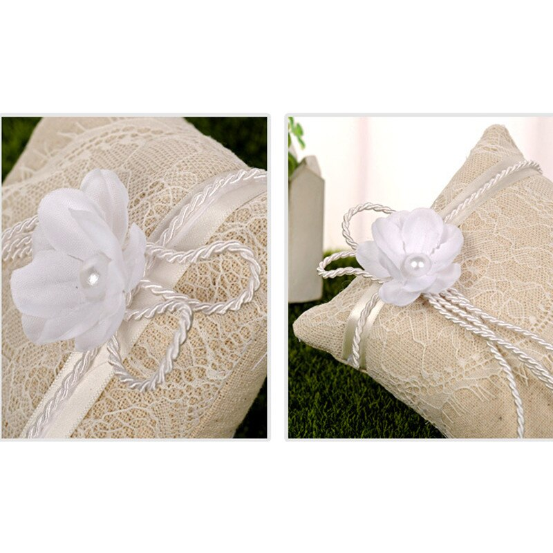 15*15cm Lace Bow Ring Pillow Vintage Burlap Decoration - Jasmaira