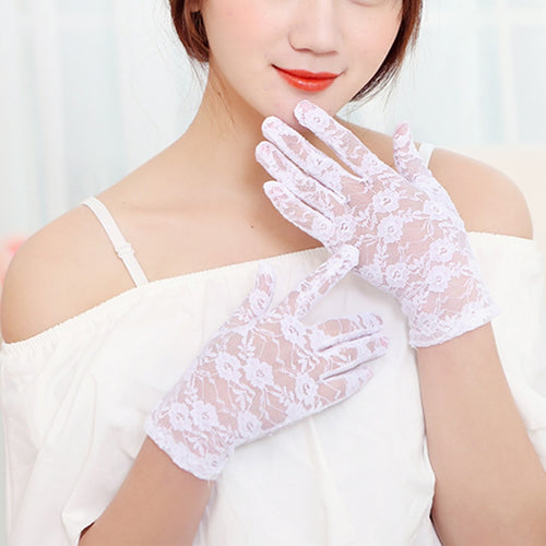Short Lace Gloves Full Finger Gloves Outdoor Driving Gloves Prom Party Driving Wedding Gloves - Jasmaira