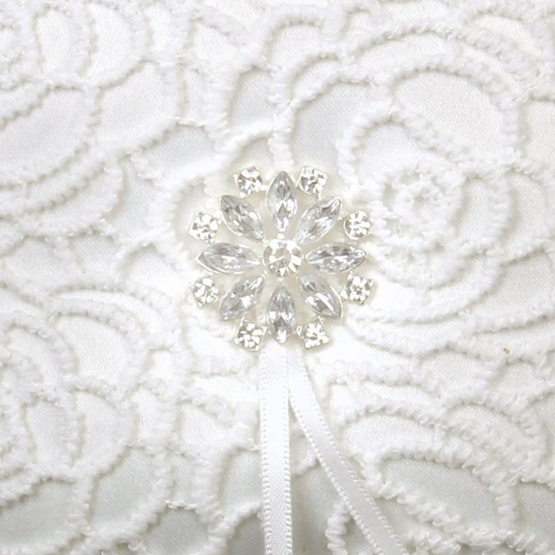 White Lace Rhinestone Wedding Ring Bearer Pillow, 6 x 6 inch - Jasmaira