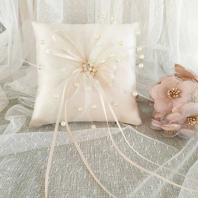 Champagne Lace Ribbon Wedding Ring Pillow 15x15cm Flower Pearl