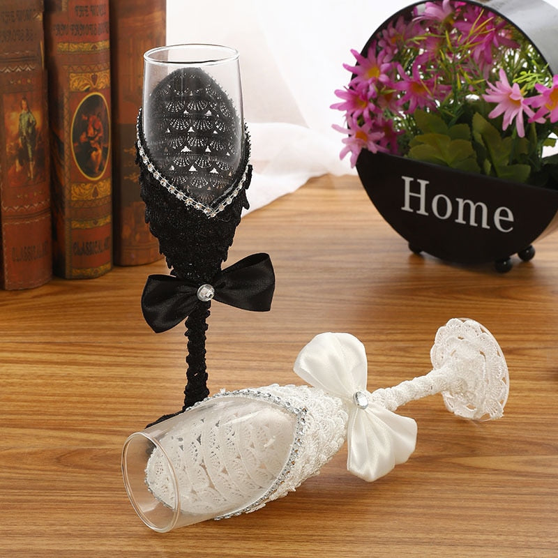 2pcs Set Creative Black White Crystal Wedding Champagne Glasses - Jasmaira