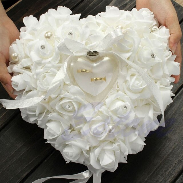 Wedding Ceremony Ivory Satin Crystal Flower Ring Bearer Pillow - Jasmaira