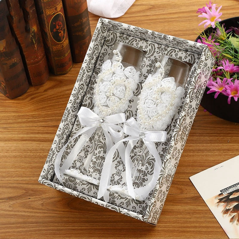 2Pcs Set Toasting Wedding Glasses Crystal Champagne Flutes For Bride And Groom - Jasmaira