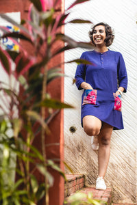 Royal Blue Patch Pocket Cotton Dress