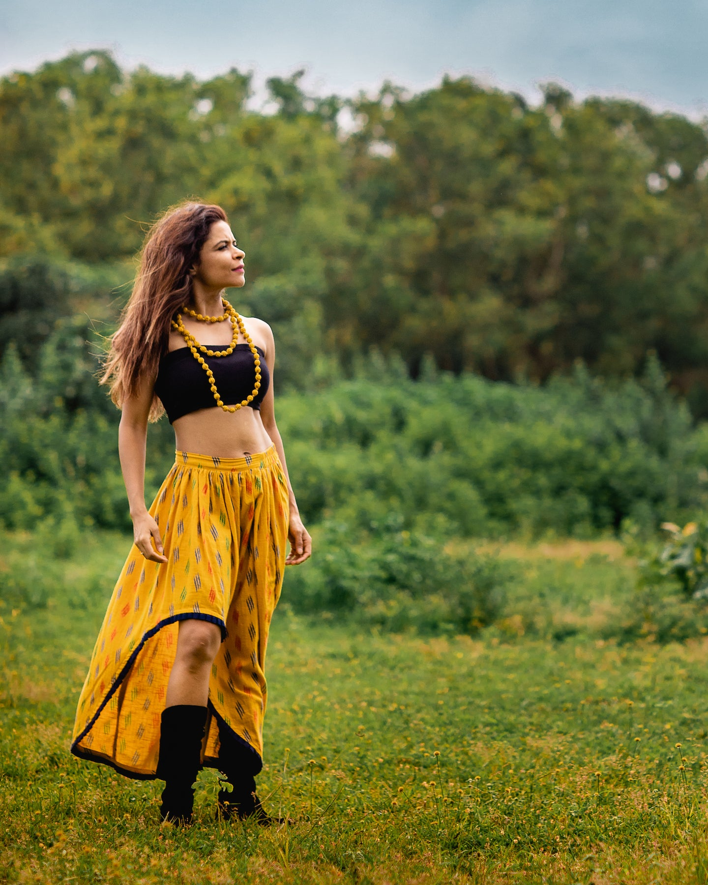 The Yellow Pure Cotton Boho Skirt by threada