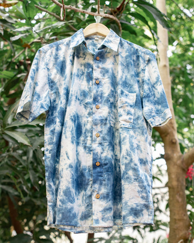 Indigo Marble Cotton Casual Shirt