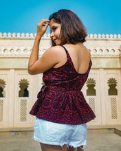 Load image into Gallery viewer, Red Red Wine Peplum Top