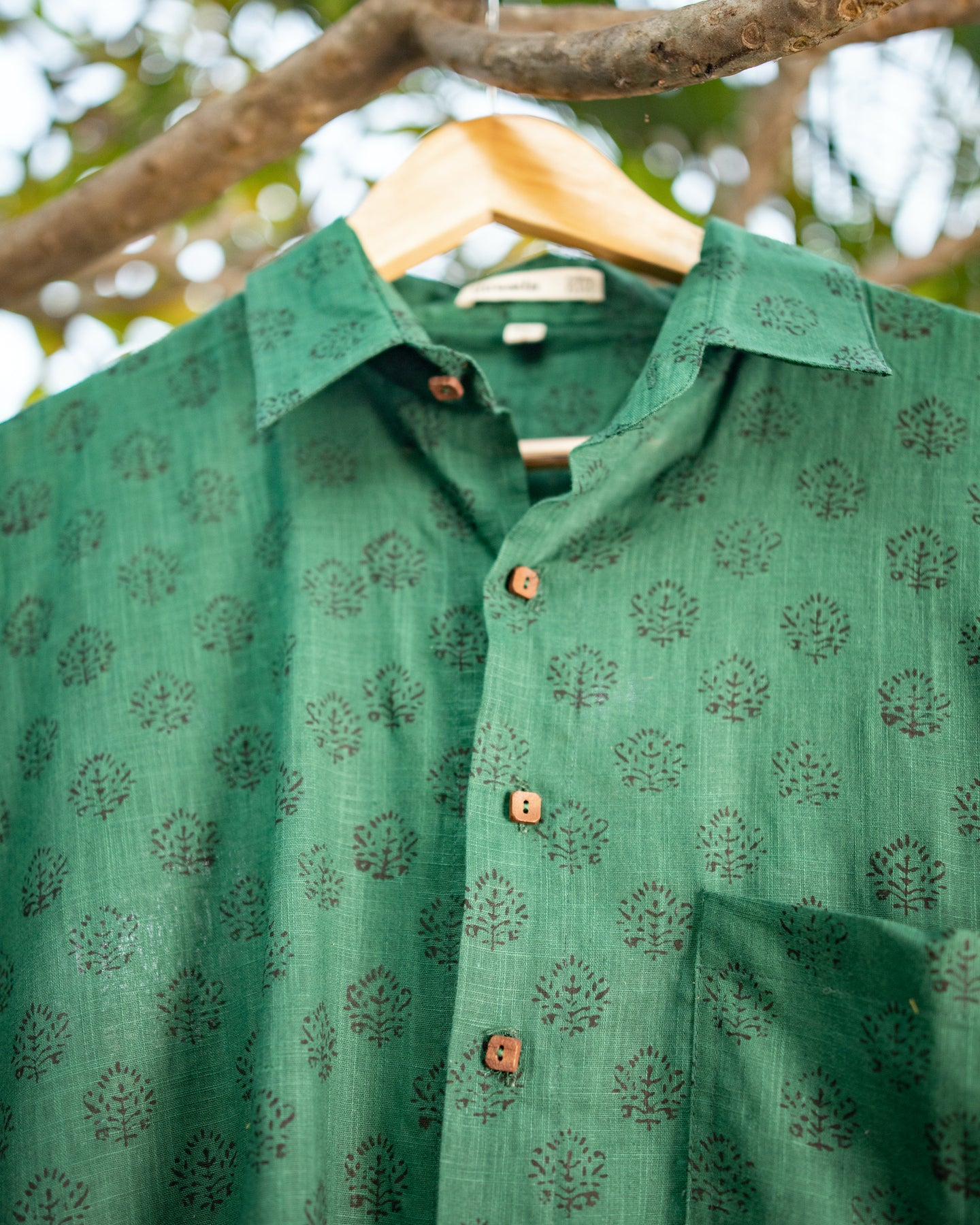 Ethnic Green Cotton Shirt