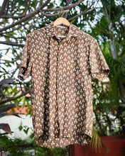 Load image into Gallery viewer, Beige Block Printed Cotton Shirt