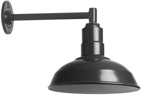 "Small Barn Light Gooseneck Mount | The Westchester Gooseneck Standard Warehouse Steel Dome | Modern Farmhouse Barn Lighting Made in America (16"" Gooseneck, Matte Black)"