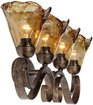 "Wall Light Bronze Scroll 29 1/2"" Art Glass Fixture for Bathroom Over Mirror Bedroom - Franklin Iron Works"