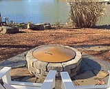 "39"" Round Metal Steel Wood-Gas Fire Pit Campfire Ring Spark Cover."