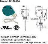 Ceiling Fan Switch 3 Speed 4 Wire Zing Ear ZE-268S6, Pull Chain Cord Switch,Use for Ceiling Fans, Appliances, Replacement Speed Control (Silvery Pull Chain)