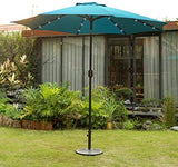 FLAME&SHADE 9' Double Top Solar LED Lights Outdoor Patio Market Umbrella with Tilt for Balcony Garden Deck or Backyard Pool, Red