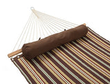 Patio Watcher 11 Feet Quilted Fabric Hammock with Pillow, Double Hammock with Bamboo Wood Spreader Bars, Perfect for Outdoor Patio Yard, Dark Blue by Patio Watcher