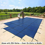 18'x36' Mesh - CES Rectangle Inground Safety Pool Cover - 18 ft x 36 ft In Ground Winter Cover with 4'x8' Center End Steps (Blue)
