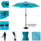 FLAME&SHADE 9' Outdoor Market Style Patio Umbrella for Outside Table Balcony Deck Yard or Terrace with Tilt, Aqua Blue