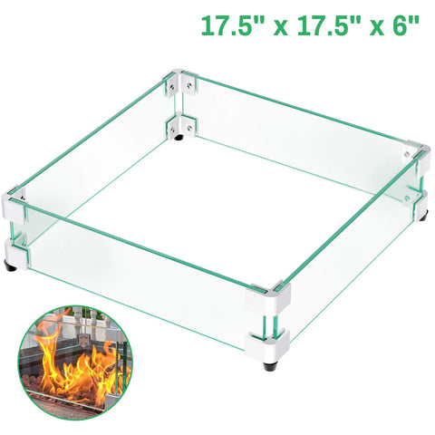 "GASPRO 17.5"" Square Fire Pit Glass Wind Guard, Clear Tempered Glass Wind Guard 5/16inch Thickness for 28"" Square Fire Pit Table and 12"" Square Drop-in Fire Pit Pan-17.5"" x 17.5"""