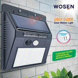 Wosen Solar Lights Outdoor, 20 LED Outdoor Motion Sensor Light with Motion Activated Auto On/Off, Waterproof Security Lights for Wall, Garden, Patio, Driveway, Garage - 2 Pack, No.PJSOLAR01