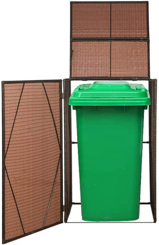 "Canditree Storage Shed Poly Rattan for Garbage Cans, Garden Tools, Bin Shed for Patio Backyard Garden 60.2""x30.7""x47.2"", Brown"
