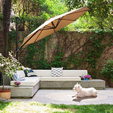 Grand patio Offset Outdoor Umbrella, 10 feet Anti-Ultraviolet Cantilever Patio Umbrella with tilt Canopy, Crank Lift & 360° Rotation,Champagne