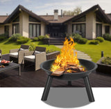 Henf 22 Inch Fire Pit Bowl, Outdoor Wood-Burning, Iron, 3 Legs, for Patio, Backyard, and Camping Black