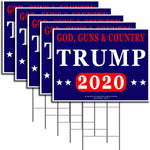 "God, Guns & Country President Donald Trump - Keep America Great! - 2020 Political Campaign Rally Yard Sign (24""x18"") Included Metal Stake - Made in America, Waterproof, Double Sided Print (5)"
